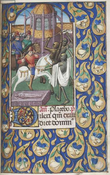MS Lewis E 212 f.151r, The Legend of the Three Living and the Three Dead (pen & ink, tempera and gold on vellum)