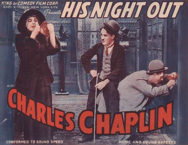 Lobby card for 'His Night Out' (colour litho)