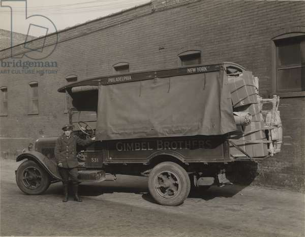 Gimbel Brothers delivery truck, Philadelphia, PA, c.1930 (b/w photo)
