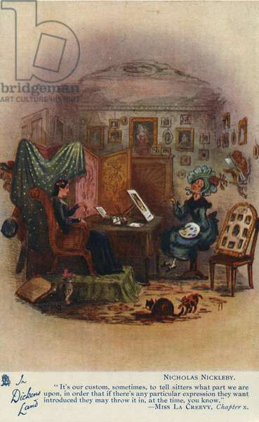 In Dickens Land - Nicholas Nickleby Postcard, c.1905 (colour litho)