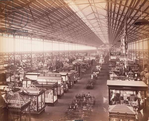 Main Building, from east gallery, Centennial Exhibition, Philadelphia, 1876 (b/w photo)