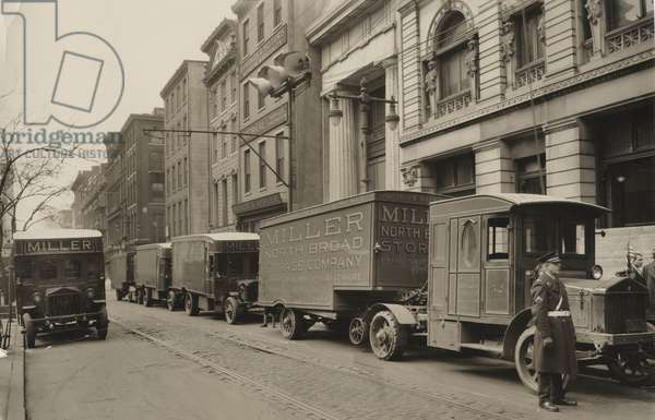 Pierce Arrow trucks, Miller North Broad Storage Company, Philadelphia PA, c.1926 (b/w photo)