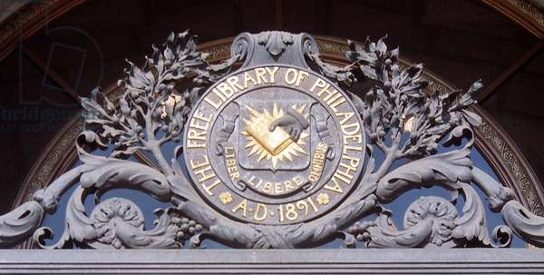 Seal of the Free Library of Philadelphia above front entrance to the Central Library (photo)