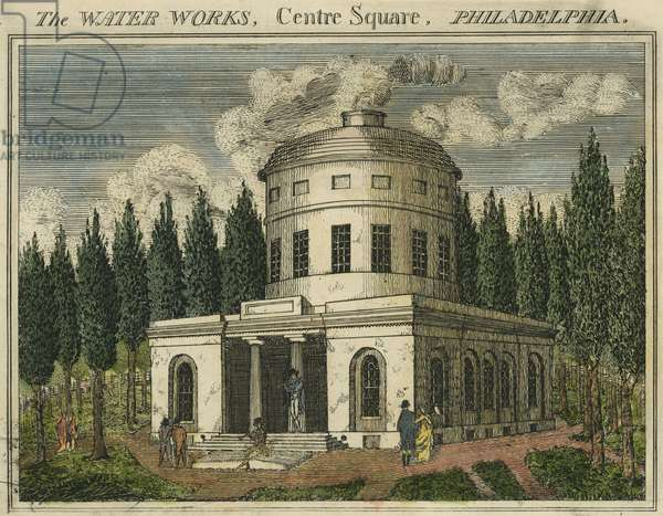 The Water Works, Centre Square, Philadelphia (hand-coloured engraving)