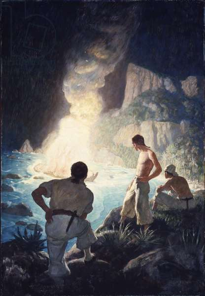 The Burning of the 'Bounty', 1940 (oil on Renaissance panel)