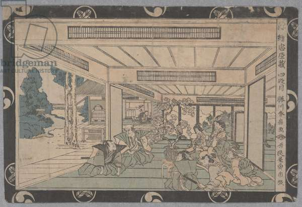 Scene from story of 47 Ronin (woodcut)