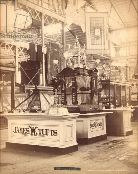 Tufts' soda water fountain, Centennial Exposition, Philadelphia, 1876 (b/w photo)