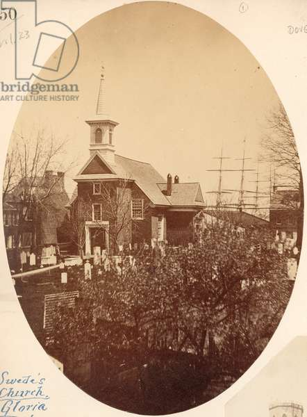 Gloria Dei (Old Swedes') Church, Swanson Street near Christian, Philadelphia, PA, 1854 (salt print)