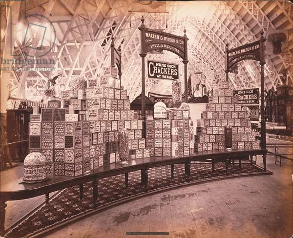 W.G. Wilson & Co.'s exhibit - Walter G. Wilson & Co. Crackers, Agricultural Hall, Philadelphia, c.1876 (albumen print)