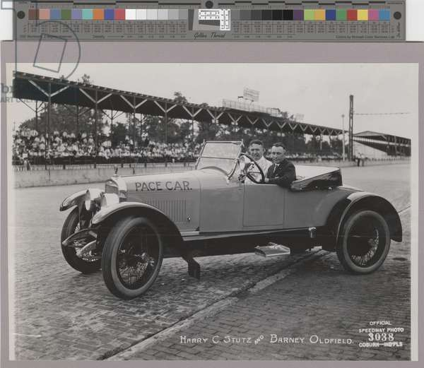 H.C.S. Roadster, Indianapolis Speedway Pace Car, Harry C. Stutz at the wheel, 1921 (b/w photo)