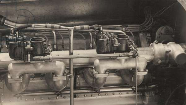 Hartz Eight-Cylinder Special, engine, 1930 (b/w photo)