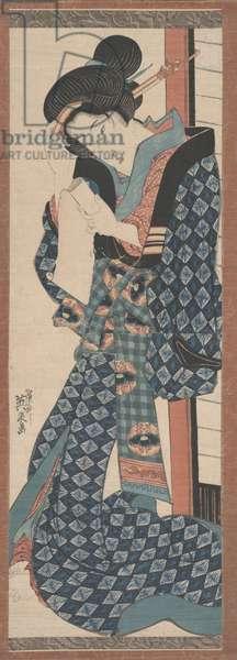 Woman Reading (woodcut)