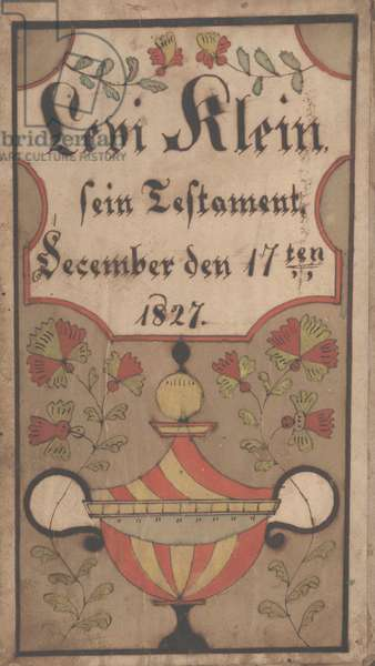 Bookplate for Levi Klein, 1834 (ink and colour on paper)