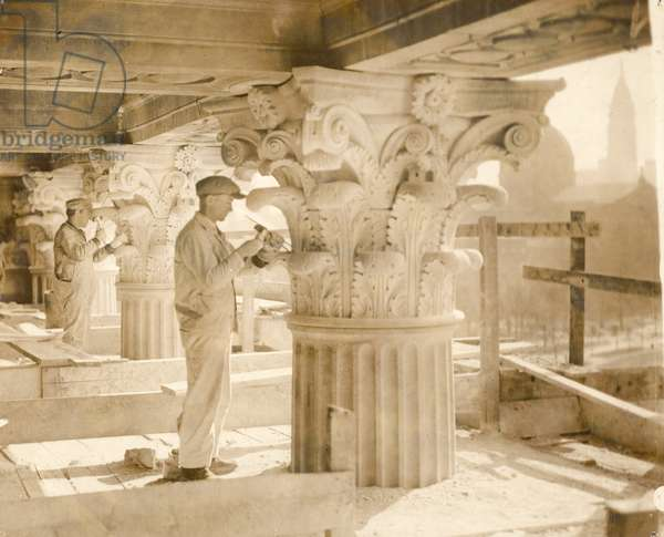 Stone Carvers from the John Donnelly Company completing Corinthian capitals at the Central Library of the Free Library of Philadelphia, c.1924-25 (b/w photo)