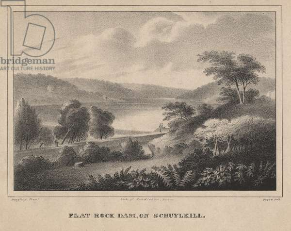 Flat Rock Dam, on Schuykill, engraved by Moses Swett, 1827 (litho)