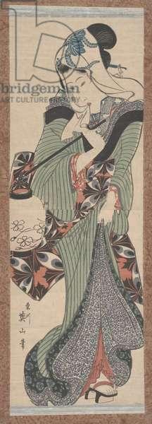 Woman with Lantern (woodcut)