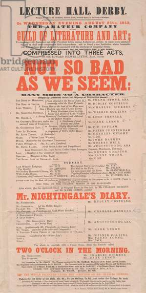 Dickens playbill: 'Not So Bad As We Seem' at Lecture Hall, Derby, programme for August 25, 1852 (colour litho)
