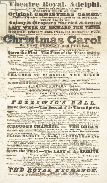 Dickens playbill: 'A Christmas Carol' at Adelphi Theatre Royal, February 26th 1814 (litho)