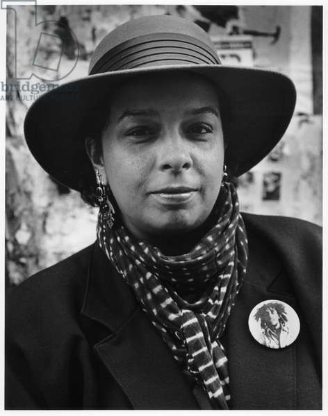 Thulani Davis, New York City, 1985 (b/w photo)