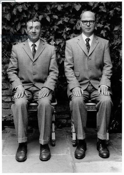 Gilbert and George, London, 1990 (b/w photo)