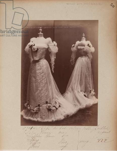 Album Page: House of Worth, Ball Gown, 1903-04 (b/w photo)