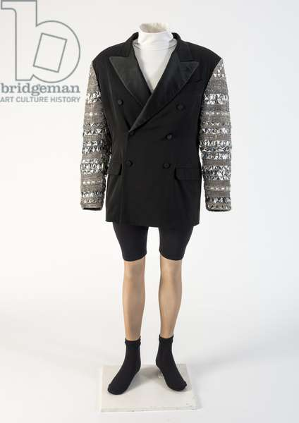 Man's black wool double-breasted jacket with 'jewelled' sleeves, 1991 (wool)