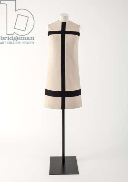 Cream and dark navy blue wool jersey 'Mondrian' dress, 1965 (wool)