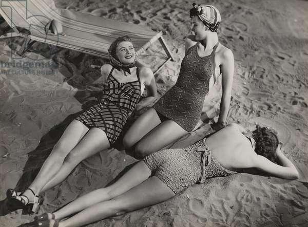 Beach fashions by Marshall & Sue Igrove, 1930s (b/w photo)