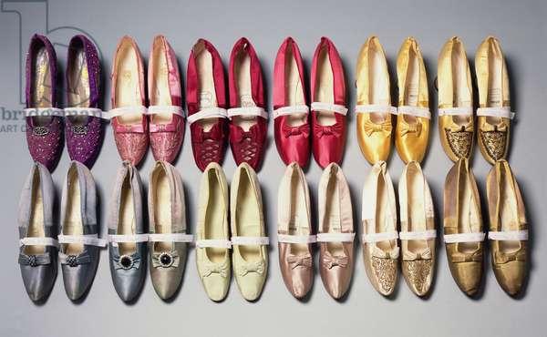 Mary Chamberlain's shoes, 1890s (silk satin)
