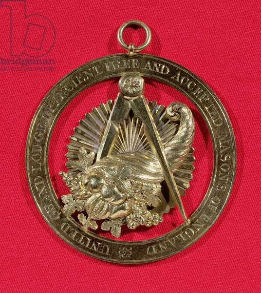 Masonic badge or jewel worn by members of the Grand Stewards Lodge after 1841, mid nineteenth century (silver gilt and gold)