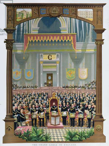 The Grand Lodge of England voting the congratulatory Jubilee address to Her Majesty Queen Victoria at the Albert Hall, London, June 13, 1887 (colour litho)