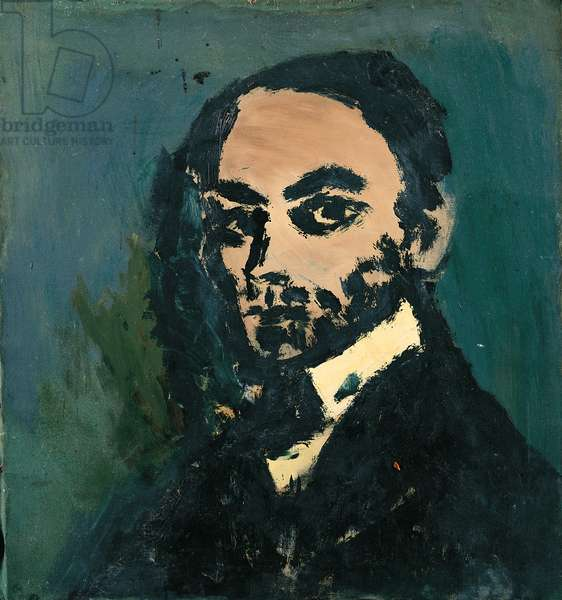 Portrait of Man on a Green background (oil on canvas)