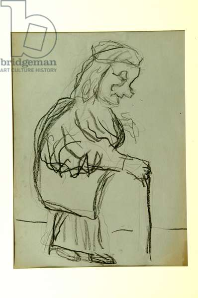 Old Lady with Walking Stick (conte on paper)