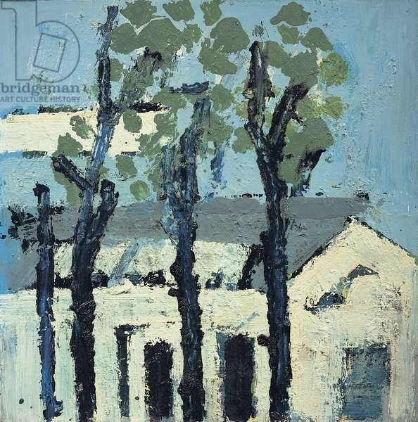Four Black Trees with White Buildings Beyond (oil on board)