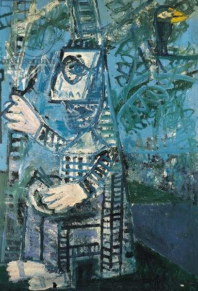 Artist Painting in a Garden (oil on board)