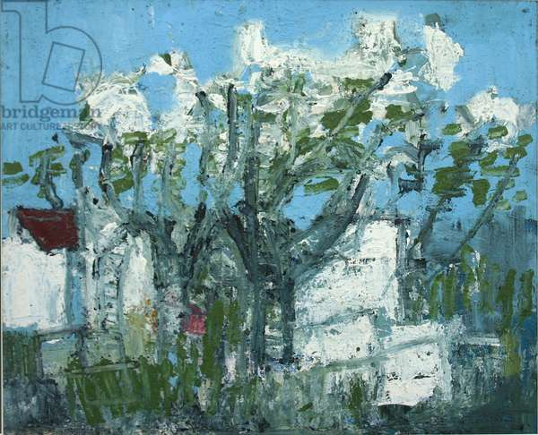 Allotment Trees and White Sheds (oil on board)