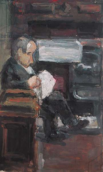 The Artist's Father, Mr. Harry Woodrow at Home, 31 Hamilton Avenue, Leeds (gouache on paper)