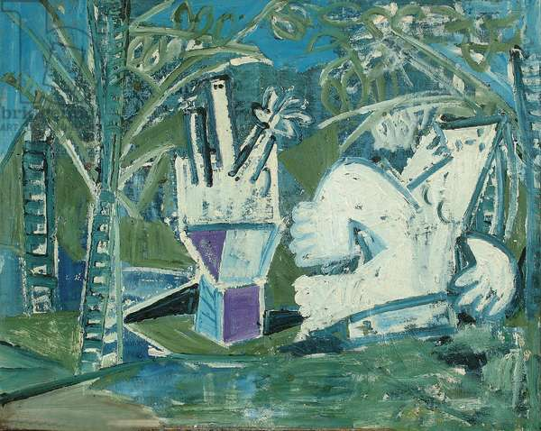 Two Figures in a Garden (II) (oil on canvas)