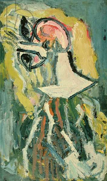Young Woman Wearing a Striped Dress, III (oil on sackcloth)