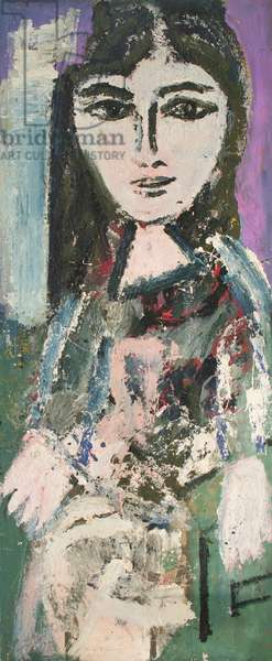 Judith Allin Seated (oil based paint on sackcloth)
