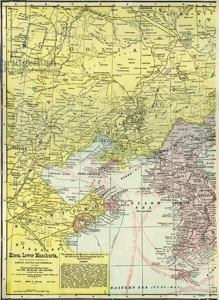 Map of Korea and Manchuria with adjacent sections of China, Japan and Siberia, early 20th century