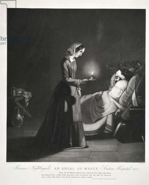 Florence Nightingale, 'An Angel of Mercy', Scutari Hospital, engraved by Tomkins, 1855 (litho)