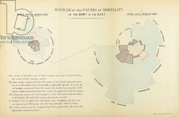 Statistical chart invented by Florence Nightingale to show the predominance of disease as a cause of mortality in the British army during the Crimean War, April 1854 to March 1855 and April 1855 to March 1956 (litho)