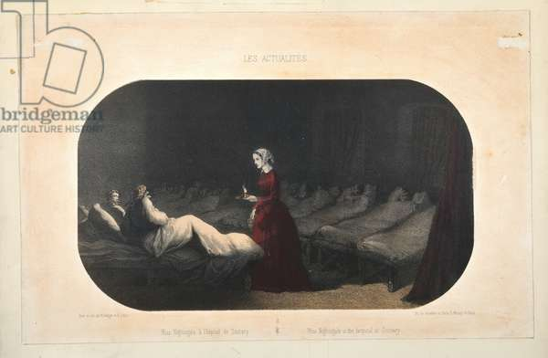 Miss Nightingale in the hospital at Scutari, published by Jacomme et Dufat, Paris, 1856 (colour litho)