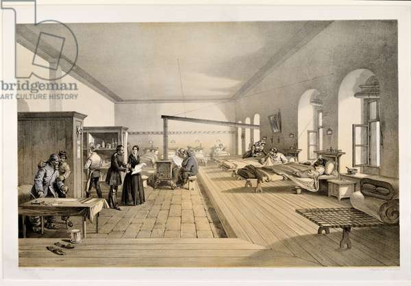A Ward in the Hospital at Scutari, engraved by E. Walker, 1856 (colour litho)