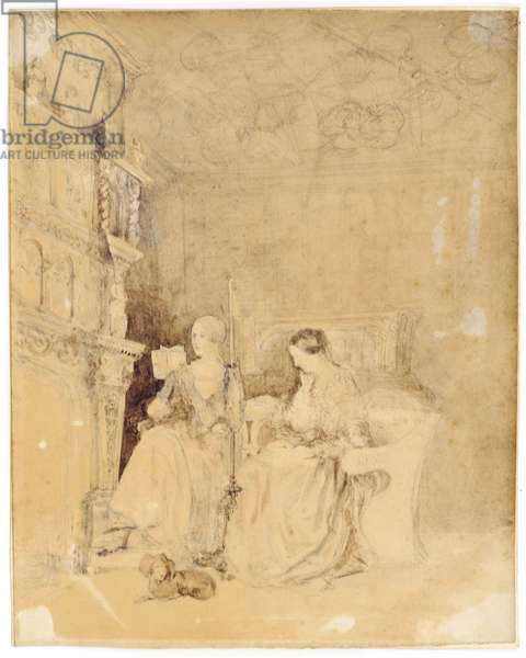 Marianne Nicholson reading to Florence Nightingale in the drawing room at Embley (pencil & wash on paper)