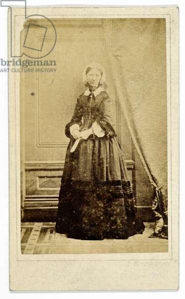 Carte-de-visite of Florence Nightingale, c.1858 (b/w photo)