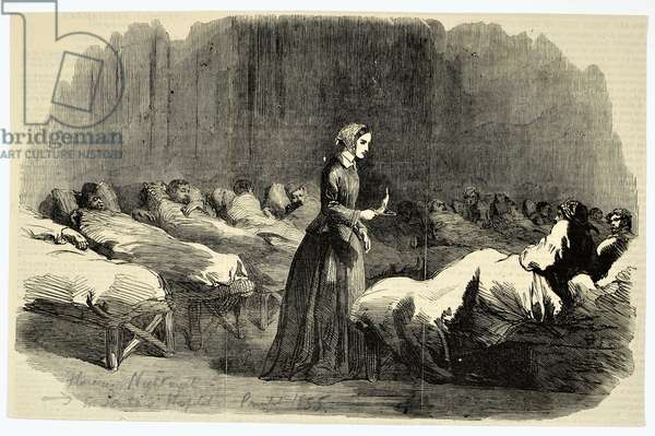 Florence Nightingale in the Barrack Hospital, Scutari, 1855 (engraving)