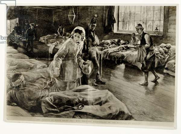 'The heroine of Fifty Years Ago: Miss Florence Nightingale in the Hospital at Scutari', pub. in The Graphic, 19th November 1904 (litho)