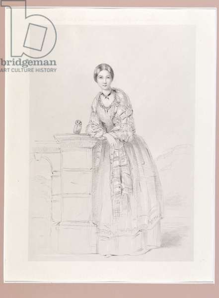 Florence Nightingale with Athena the owl, pub. P. & D. Colnaghi, 1855 (litho)